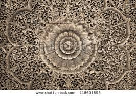 pattern flower carved on wood background stock photo 115601893
