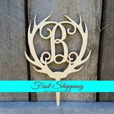 rustic monogram cake topper wooden antler cake topper personalized cake topper monogram