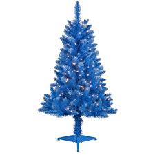 4 pre lit blue tinsel artificial tree clear lights