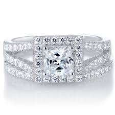 halo wedding ring kettie s princess cut cz halo wedding ring set