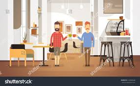 modern drink table two man drink coffee modern cafe stock vector 616686548 shutterstock