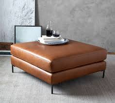 Leather Ottomans Jake Leather Sectional Ottoman Pottery Barn