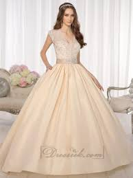 elegant cap sleeves v neck princess ball gown wedding dresses with
