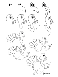 how to draw a turkey for kids drawing sketch library