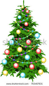 tree decorated balls stock vector 763467631