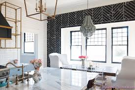 White And Wood Dining Chairs Breakfast Room Black Chevron Wall Tile White Wingback Dining