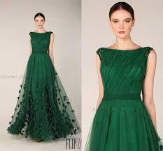 emerald green prom dresses formal evening gowns bateau neckline