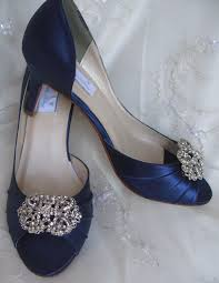 navy blue wedding shoes with vintage style rectangle brooch