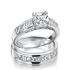 wedding ring set sterling silver 2ct cz princess cut engagement wedding ring set