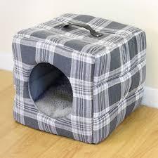 Are Igloo Dog Houses Warm Grey Tartan Soft Cosy Igloo Cave Warm Pet Bed Dog Puppy Cat Kitten
