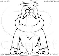 cartoon clipart of a black and white drunk or dumb orangutan
