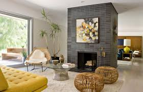 decoration family room design ideas with fireplace yellow sofa