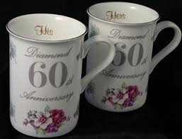 60th wedding anniversary gifts diamond 60th wedding anniversary gift pair of mugs co uk