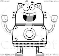 cartoon clipart of a black and white excited robot cat vector