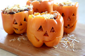 shredded chicken u0026 rice stuffed peppers halloween style