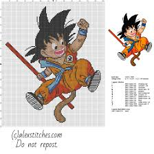goku kid dragon ball character free cross stitch pattern free