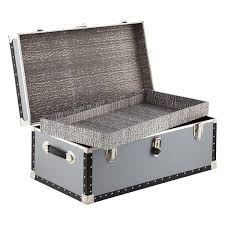 Travel trunk footlocker with tray the container store