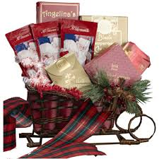 gift baskets christmas christmas sleigh gift basket of treats