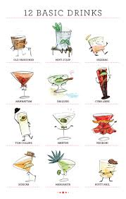 cocktail cartoon home bar basics 12 essential cocktails to stir or shake