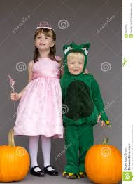 halloween costumes for kids pumpkin kids children halloween costumes pumpkins princess stock photo
