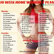 at home workout plans for women 10 week no gym home workout plan military diet