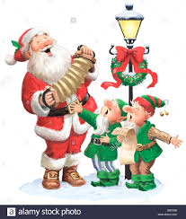 illustration of a santa claus and his elf singing together on