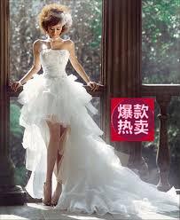 Wedding Dress English Version Detachable Bra Straps Lace Front Short After Trailing Bride