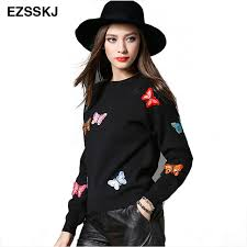womens casual 2017 winter sweaters and pullovers knitted butterfly