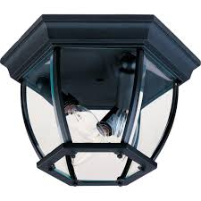 Outdoor Flush Mount Ceiling Light Maxim Lighting Maxim 3 Light Black Outdoor Flushmount Outdoor
