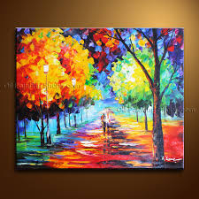 amazing contemporary wall landscape painting park tree paintings