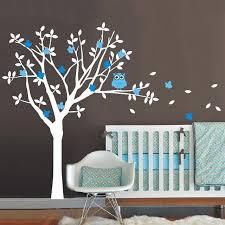 Nursery Owl Wall Decals Modern Owl Wall Stickers Tree Nursery Vinyl Wall Decals