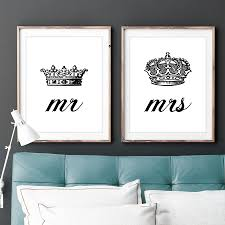 Bedroom Wall Decals For Couples Set Of Two 2 Mr And Mrs His Hers King Queen By Lochnessstudio
