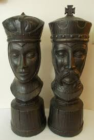 king and queen chess pieces large ceramic modern mid century