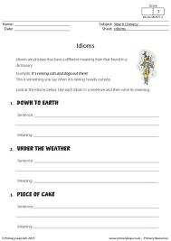 idioms worksheets kids worksheets