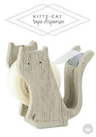 wooden kitten tape dispenser back to supplies pinterest