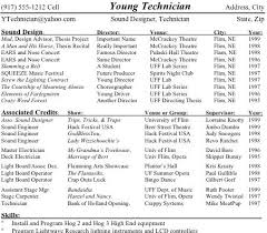 musical theatre resume exles 2 technical theatre resume college stage management