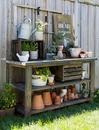 Pinterest Gardening Crafts - craftberrybush simple potting bench and bee garden sign using