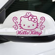 jual cutting stiker mobil kitty outlined pink sticker