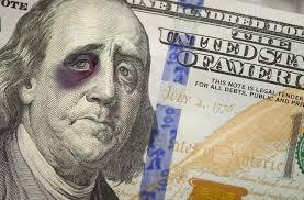 black eyed ben franklin on one hundred dollar bill stock photo