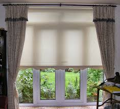 Wooden French Doors Exterior by Interior Brown Waterfall Roman Shades For White Wooden French