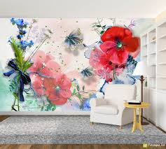 Watercolor Wallpaper For Walls by Retro Wallpaper U0026 Vintage Wall Murals Poppies Watercolor