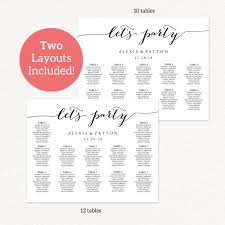 11x14 let u0027s party wedding seating chart