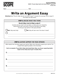 The Example Of Argumentative Essay Debate Scavenger Hunt A Guide To Argument Writing Scope Ideabook
