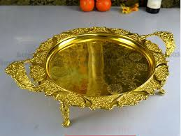 metal platters 42cm gold embossed metal serving tray storage tray with