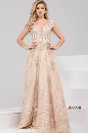 gold long a line embellished dress with cap sleeves and v neckline
