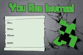 Invitation Card Example Minecraft Birthday Invitations Dhavalthakur Com