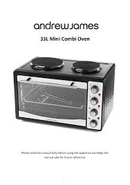 andrew james aj000548 33 litre mini oven with double hob user