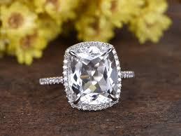 white topaz engagement ring 5 carat white topaz engagement ring with diamond white gold bbbgem
