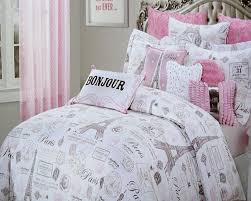 paris themed girls bedding amazon com 5pc full queen size designer nicole miller pink u0026 gray