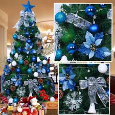 beautiful christmas trees decorated in blue part 14 dark and